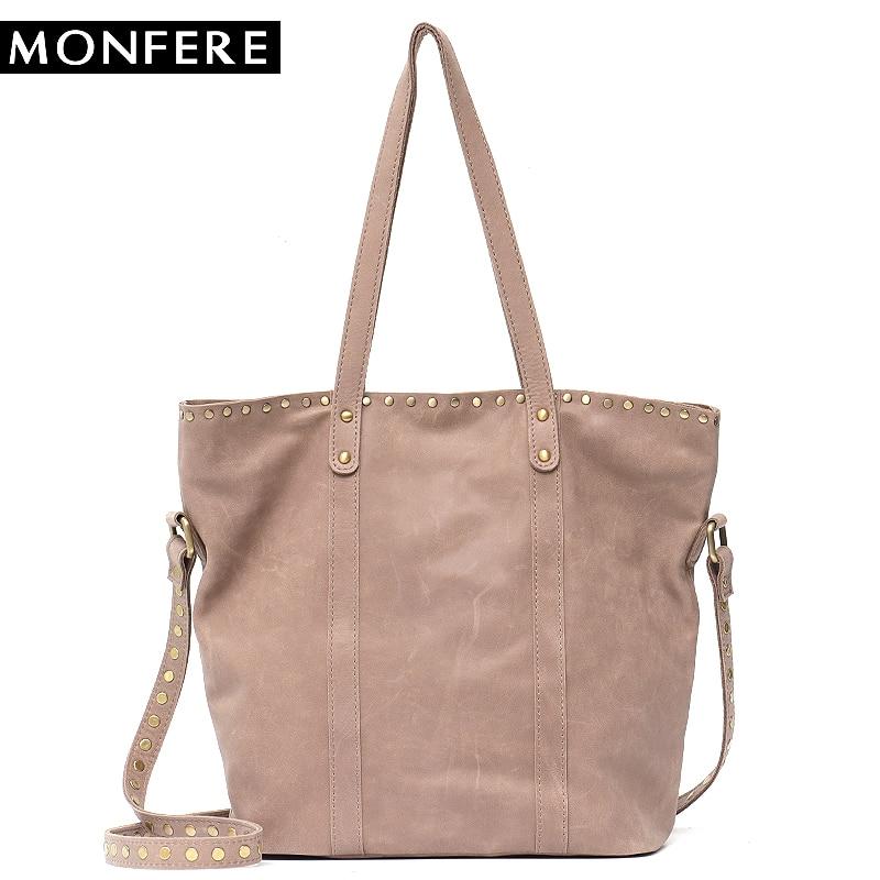 cb8158d663fc MONFRE Luxury Brand Cow Leather Tote Bags Designer Cowhide Handbags Women Shoulder  Bags Fashion Female Large ...