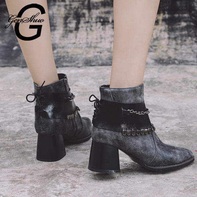 GENSHUO Sexy Winter Boots Woman Shoes Non Slip Rubber Sole Metal Chain Women Ankle Boots Black Short Plush Motorcycle Boots