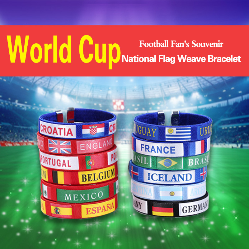 2018 Football Game Cheer Bracelet National Color Flag for Soccer Fans Wristband Festive Event Party Supplies Gift Souvenir