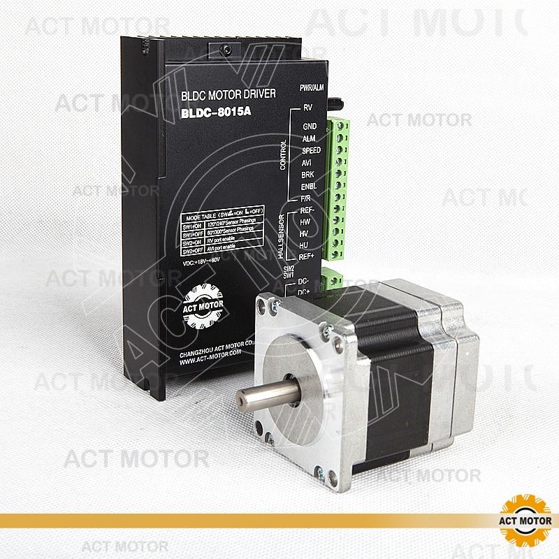 ACT Motor 1PC Nema23 Brushless DC Motor 57BLF01 24V 63W 3000RPM 3Ph Single Shaft+1PC Driver BLDC-8015A 50V CNC US UK DE JP Free бюстье willow бюстье