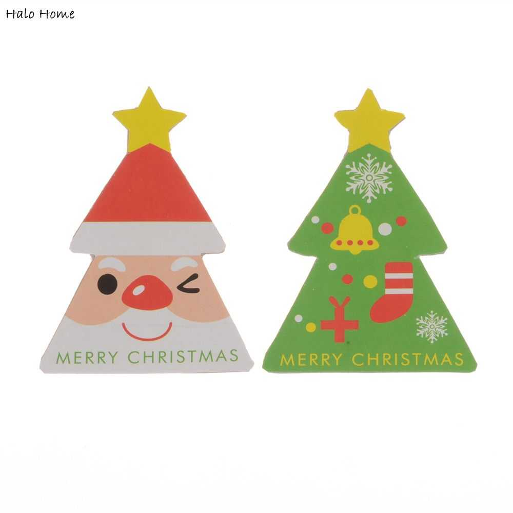 High Quality Gift Box Seals Labels Merry Christmas Craft Party Promotions Sticker Christmas Tree 80 Pcs Paper Labels 5.5x4cm