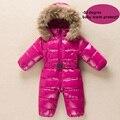 2016 Recém-nascidos Do Bebê Snowsuit Bebê Casaco de Inverno Casaco De Peles Naturais de Inverno das crianças Macacão Bonito Hoode Bebê Macacão Roupa Do Bebê
