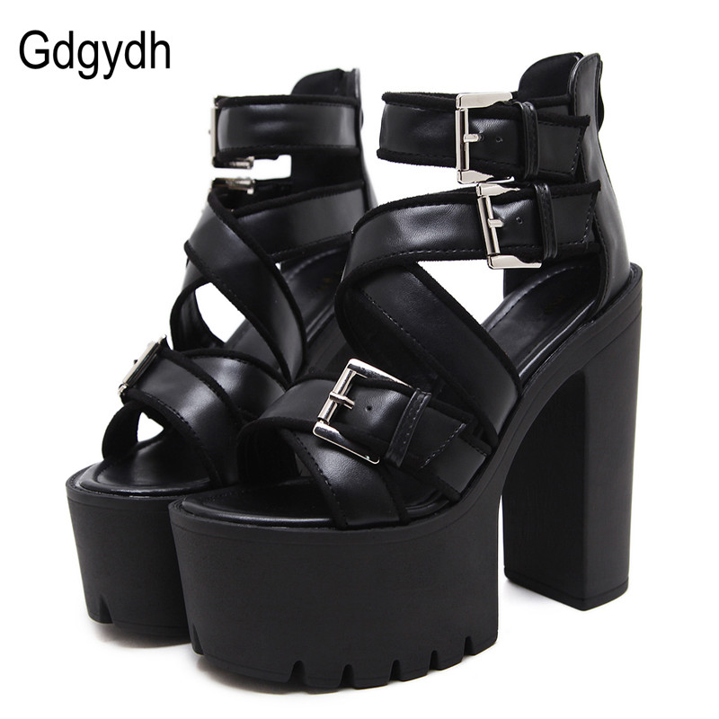 Gdgydh Open Toe Black Sandals Woman Platform Shoes Thick Heels Sandals Brand Designer Sexy Soft Leather