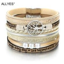 ALLYES кожаные браслеты для женщин модные Древо жизни женские богемные Многослойные широкий браслет обруча женские ювелирные изделия