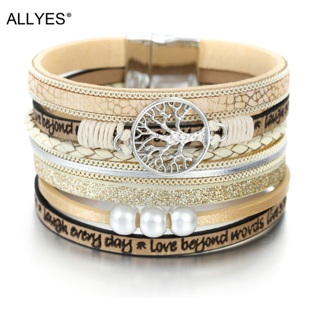 ALLYES Leather Bracelets Tree of Life Ladies Bohemian Multilayer Wide Wrap Bracelet