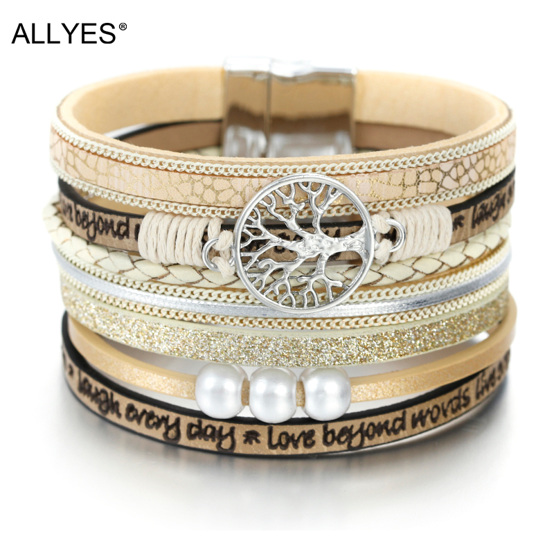 ALLYES Tree of Life Charm Pearl Leather Bracelets for Women Fashion Ladies Bohemian Multilayer Wide Wrap Bracelet Female Jewelry(China)