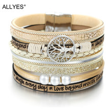 ALLYES Leather Bracelets for Women 2019 Fashion Tree of Life Ladies Bohemian Multilayer Wide Wrap Bracelet Female Jewelry(China)