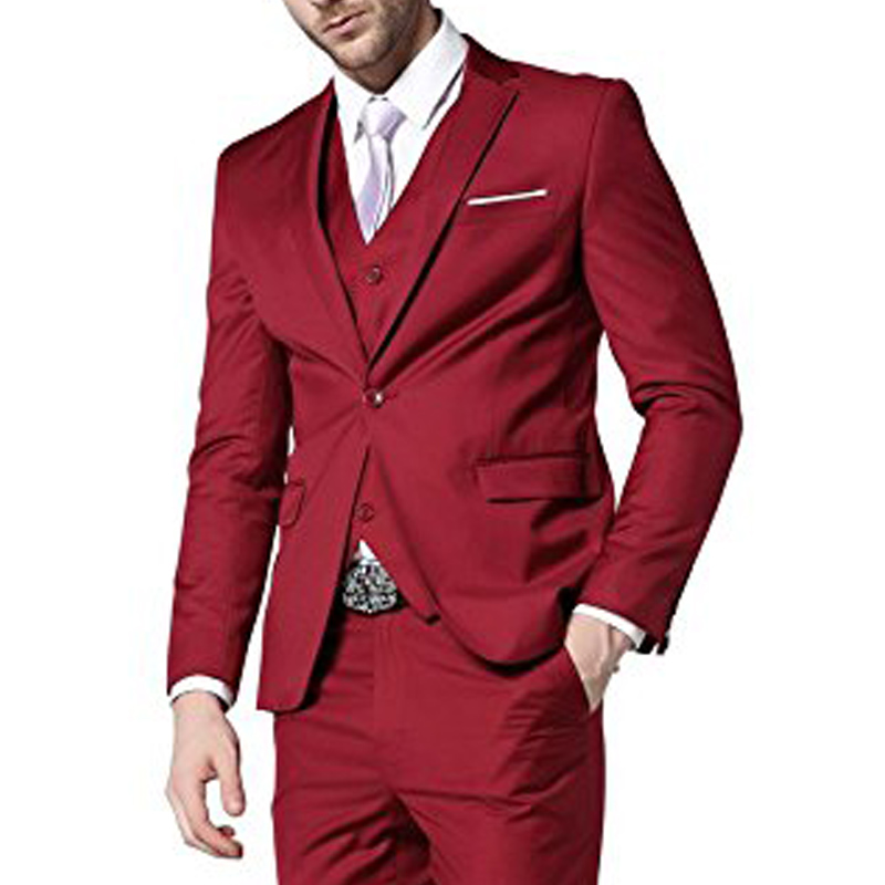 Red Evening Party Men Suits 2018 Trim Fit Three Piece Custom Made Groom Wedding Tuxedos ( Jacket + Vest + Pants )