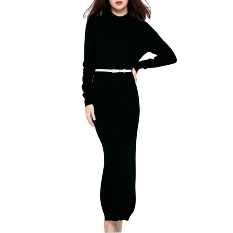 New Autumn And Winter Sexy Slim Long Dress Soft Feminine Long Sleeve O-Neck Cashmere Sweater Female Knitted Night Party Dresses c by bloomingdale s new navy long sleeve cowl neck cashmere sweater m $248 dbfl