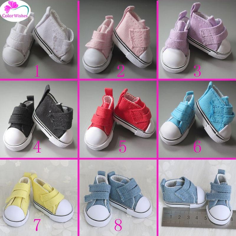 Shoes for dolls 5cm Fashion Denim Canvas Mini font b Toy b font Shoes1 6 Bjd
