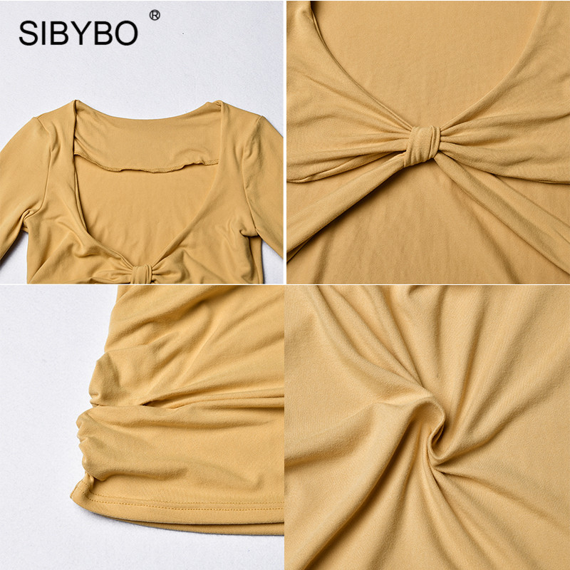 Sibybo Hollow Out Pleated Mini Sexy Dress Women V-Neck Long Sleeve Knotted Autumn Bodycon Dress Beach Ladies Casual Dresses