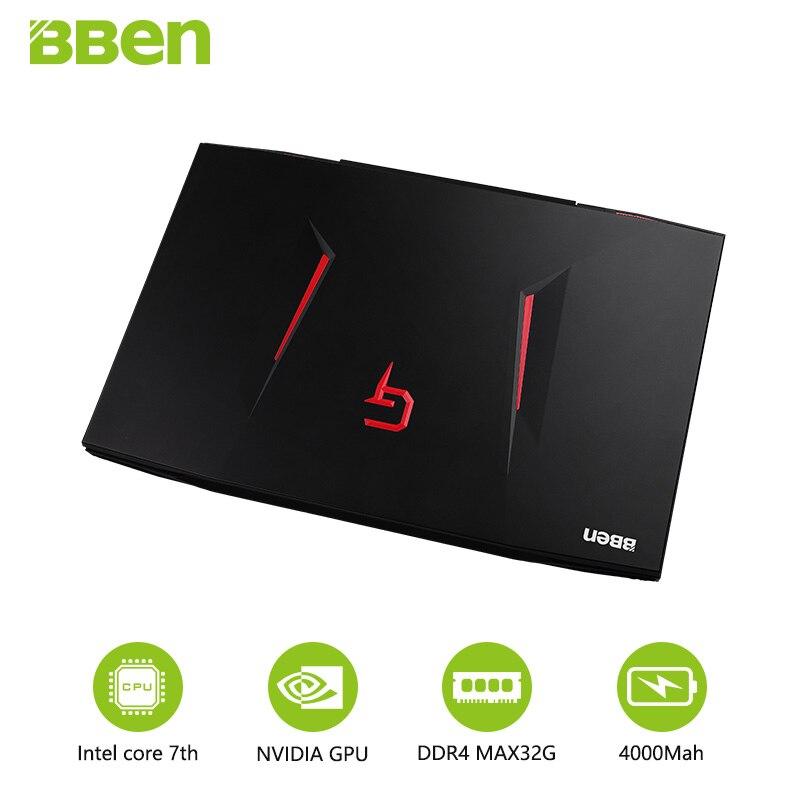 Bben ordinateur portable avec clavier russe 17.3 pouces Intel Core I7 7700HQ CPU 32 GB RAM 128 GB SSD M.2, 2 to HDD ordinateur portable Windows10