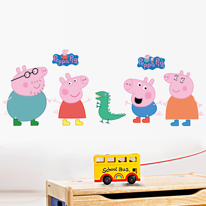 3D DIY Peppa Pig Free Shipping Photo PVC Wall Decals/Adhesive Family Walll Stickers Mural Art Home Decor chic round neck short sleeve figure print fringed dress for women