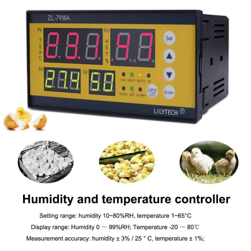 New ZL 7918A Digital Hatching Controller Poultry Egg Incubator Incubator Thermostat Temperature and Humidity Controller