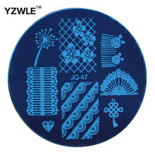 YZWLE 1 Pc Stamping Nail Art Image Plate, 5.6cm Stainless Steel Nail Stamping Plates Template Manicure Stencil Tools (JQ-47)