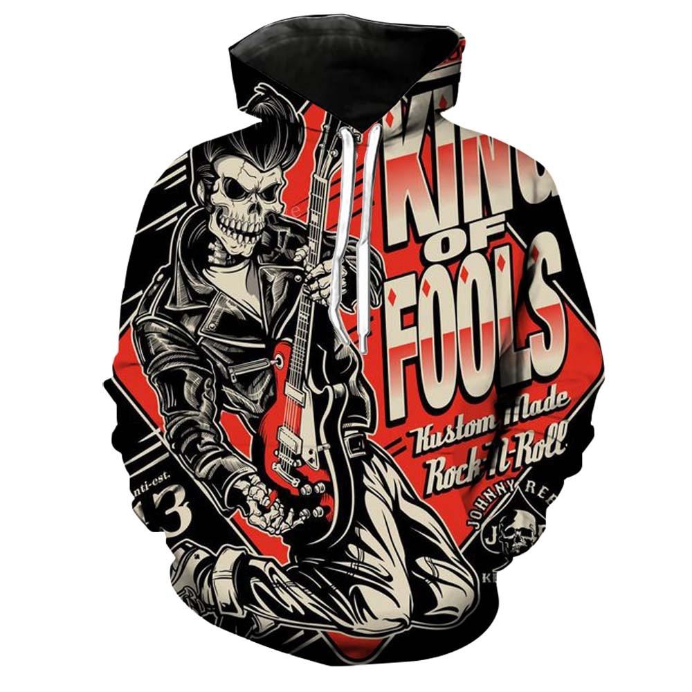 Skull Sweatshirts Mens Gothic Brand Hoodies Mens Joker Printing Hip Hop Hoodie Male Tracksuits Size S-5XL Wholesale and Retail