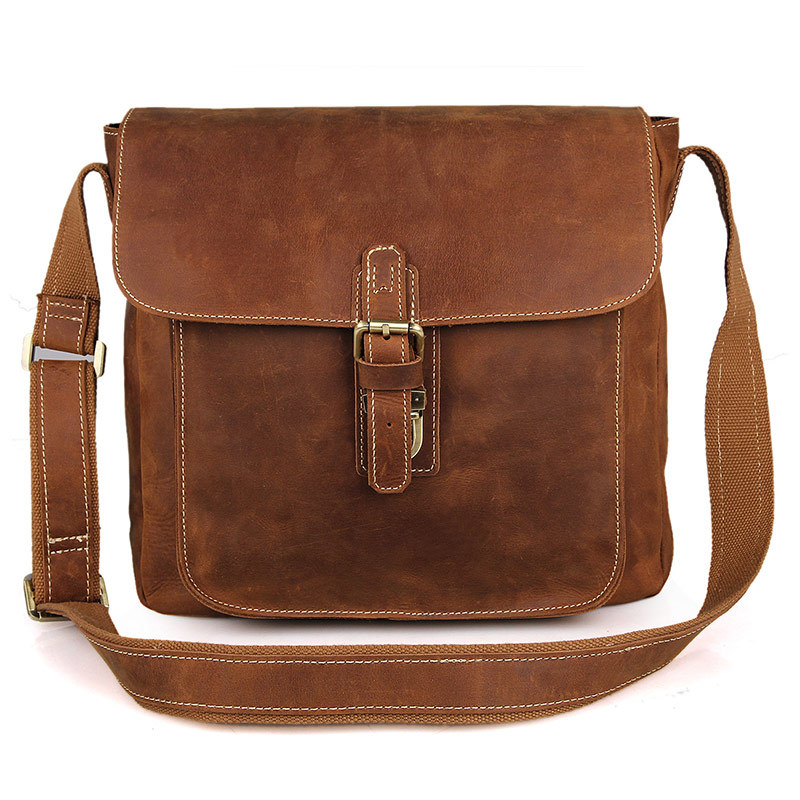Brown Vintage Crazy Horse Genuine Leather Men Messenger Bags Natural Cowskin Men's Bags Shoulder Cowhide Crossbody Bag #MD-J7111