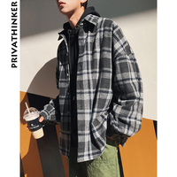 Privathinker Oversized Long Sleeve Thick Woolen Plaid Shirts Men Women Casual Flannel Warm Shirts Korean Male