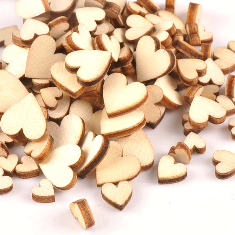 100Pcs Mixed Natural Mini Heart Wood Slices DIY Arts Scrapbooking Craft Home Decor Unfinished Wooden Ornaments 6-12mm M1686
