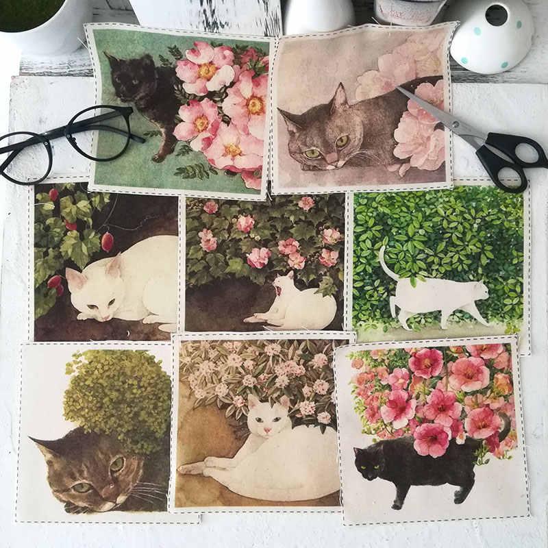 ZENGIA 15x15 cm tela de lino de algodón con estampado de Fels Chau Cat para Patchwork tela de lona decorativa para bolsos/ pintura/Decoración