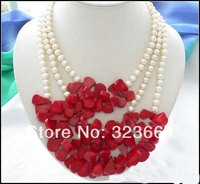 3row white round freshwater pearl red coral necklace