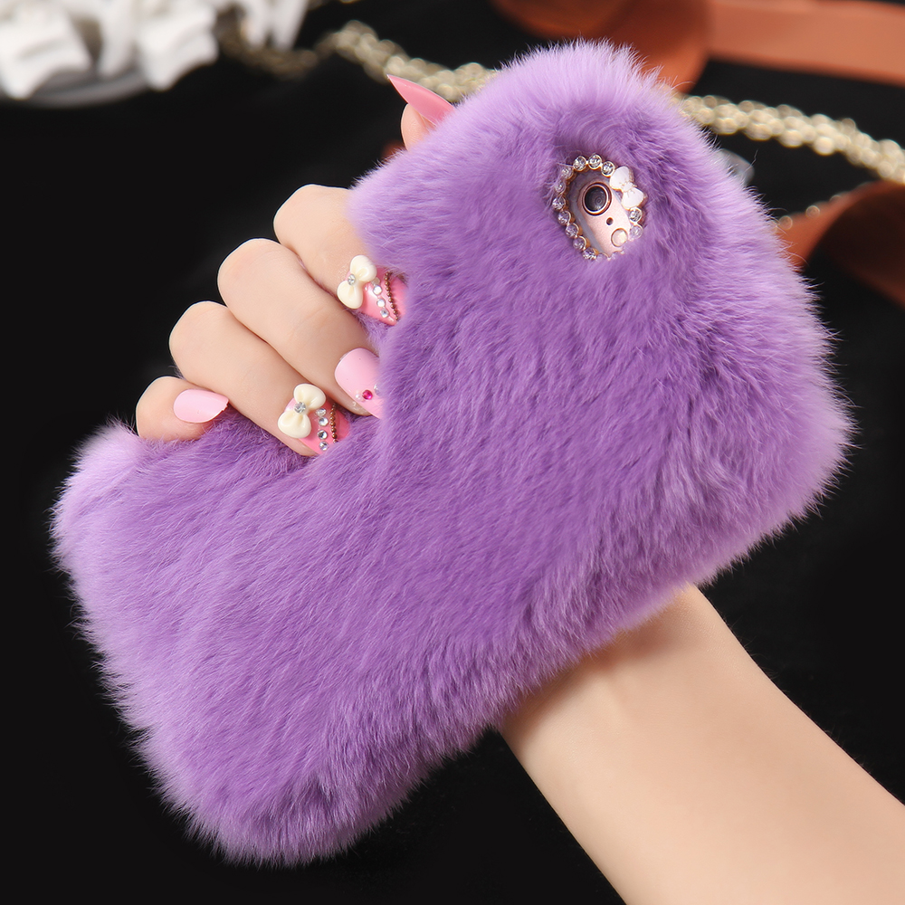 official photos d97a0 38e11 US $4.24 15% OFF|KISSCASE Real Rabbit Fur Case For iPhone 8 6 6s 7 Plus 5S  SE Luxury Cute Girly Diamond Cover Cat Case For iPhone X 7 8 6 Capa -in ...