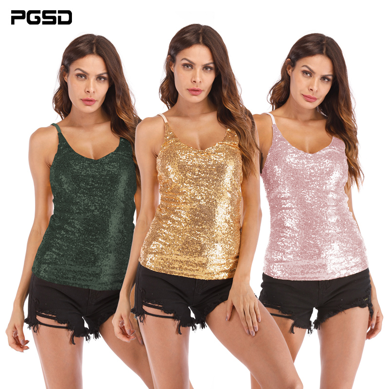 PGSD 2019 New Summer Fashion Pure Colored Women Clothes Sexy sling V-neck Gold sequins Luxurious Slim Camis vest female