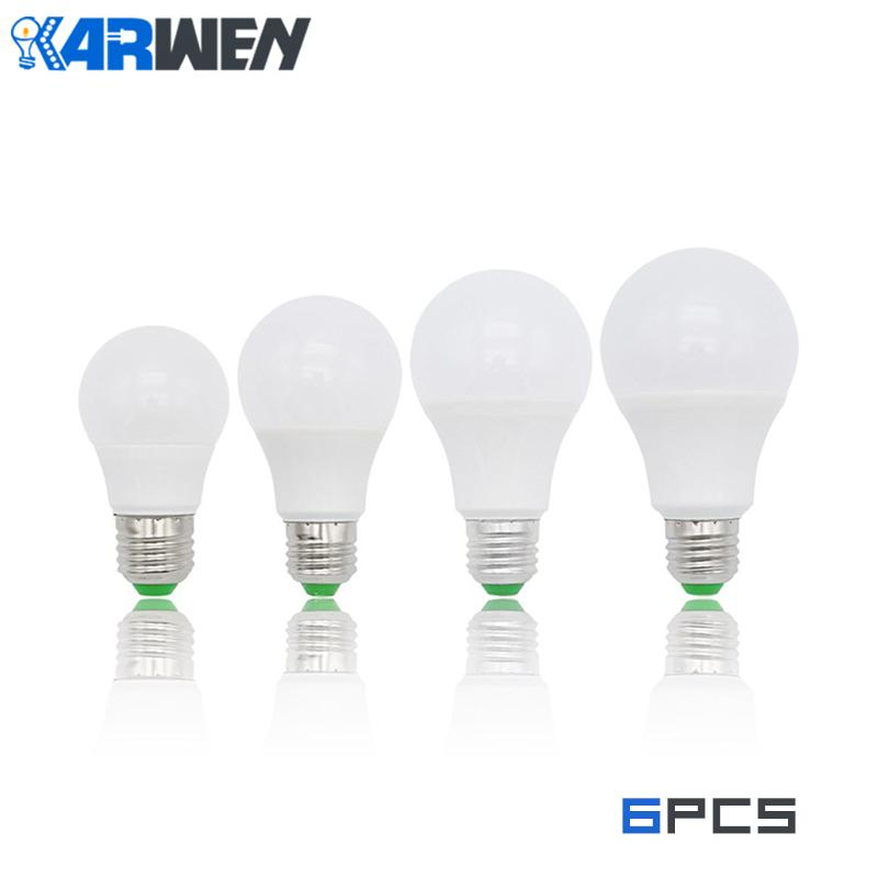 KARWEN 6PCS LED lamp LED Bulb E27 3W 5W 7W 9W 12W 15W 18W AC 220V  Cold Warm White Lampada LED Bombilla SpotlightKARWEN 6PCS LED lamp LED Bulb E27 3W 5W 7W 9W 12W 15W 18W AC 220V  Cold Warm White Lampada LED Bombilla Spotlight