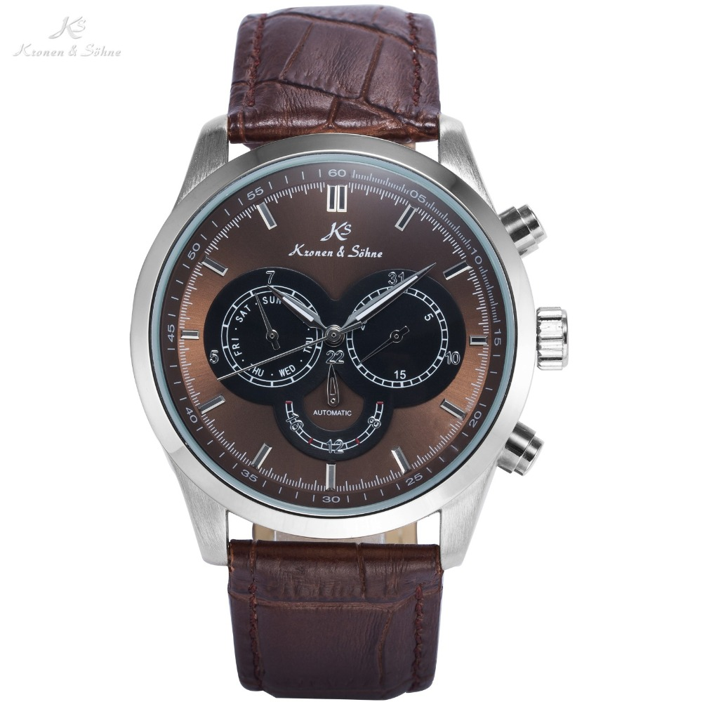 KS Retro Coffee Date Day 24 Hours Display Leather Band Clock Male Fashion Wristwatches Men Automatic Mechanical Watch / KS266 forsining date display automatic mechanical watch men business leather band watches modern gift dress classic analog clock box