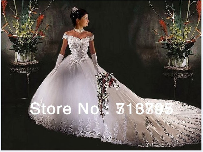 2013 New Style Fashion White/Ivory Tulle/Netting Long Appliques Ball Gown Bridal Wedding Dresses Custom Size - Sweet bride wedding dress co., LTD store