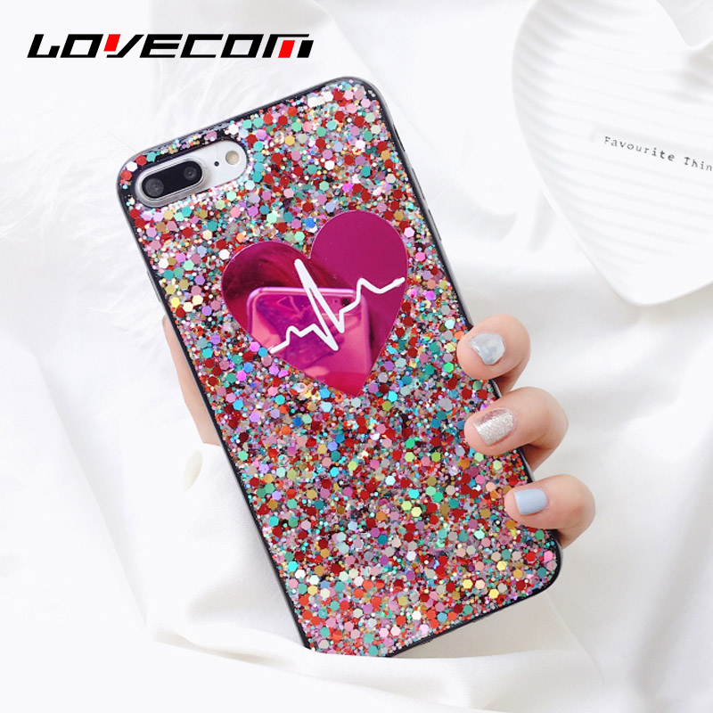 LOVECOM Glitter Powder Phone Case For iPhone 6 6S 7 8 Plus X Love Heart Mirror shining Soft TPU Phone Back Cover Cases Coque!