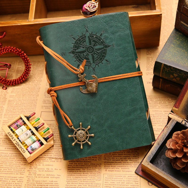 Hot Vintage travelers notebook  Kraft paper 90 sheets Leather Diary Sketch Drawing Office school supplies Travel Jounal Gift vintage mysterious magic world magnetic buckle kraft paper notebook papelaria material escolar school gift office supplies gt102