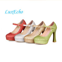 LuxEcho Wedding Shoes Gold Silver Green Red Bling Shoes 11cm Heel Platfrom Shoes Woman Party Dress