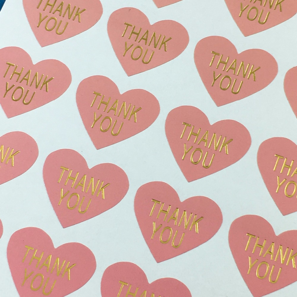 5000PC Lot Thank you Pink Heart Stickers Labels Thermoprinting Gold Self adhesive Sealing Sticker For Gift