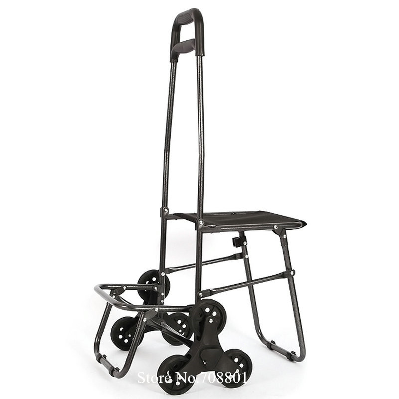 Chariot pliant extérieur de chariot à achats avec des roues de roulement, chariot utilitaire léger de blanchisserie d'épicerie, escalade d'escalier avec des roues