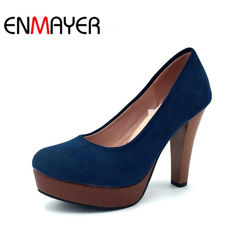 ENMAYER New Fashion Spring Women Pumps Round Toe Shoes High-heel Wedding Party Slip-on Flock Platform Yellow Shoes for Woman yue sai yue sai 5ml 2016 8