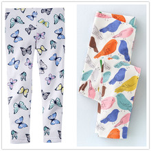 2-7Y baby Girl leggings girls pants for girls 100% cotton Children trousers kids pencil pants Cotton brand butterfly birds