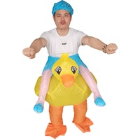 Yellow Duck Inflatable Duck Halloween Costume for Adults Animal Cosplay Party Fancy Dress Carnival Birthday Blow Up Costume Suit