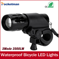 Q5 LED 2000lm Aluminum Waterproof AAA Battery with Holder Front Cycling Bike Bicycle Lights Lamps Lantern Flashlight