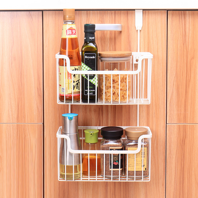 Kitchen Wrought Iron Storage Basket Free Punching Shelf Door Cabinet Hanging Rack