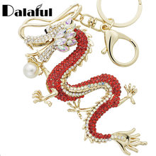 Dalaful Rhinestone Dragon Key Rings Chains Holder Simulated Pearl Crystal Animal Keychains For Car Keyrings Bag Charms K341D(China)