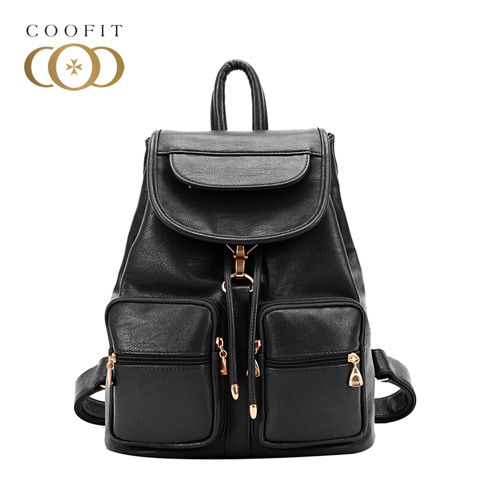 Coofit Fashion Casual Backpack Black Vintage PU Leather Bagpack Drawstring Design Flap Cover Backpacks For Women Girls Schoolbag melodycollection candy color pu leather mini backpack for women girls purse fashion schoolbag mini casual daypack dome backpacks