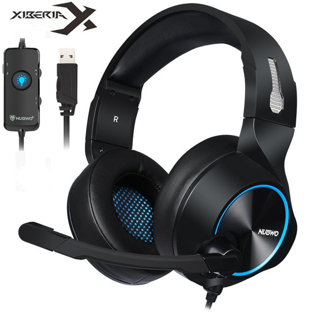 Xiberia Nubwo Brand N11 PC Gamer Headset USB 7.1 Channel Sound Bass Casque Computer Gaming Headphones with Microphones Led Light