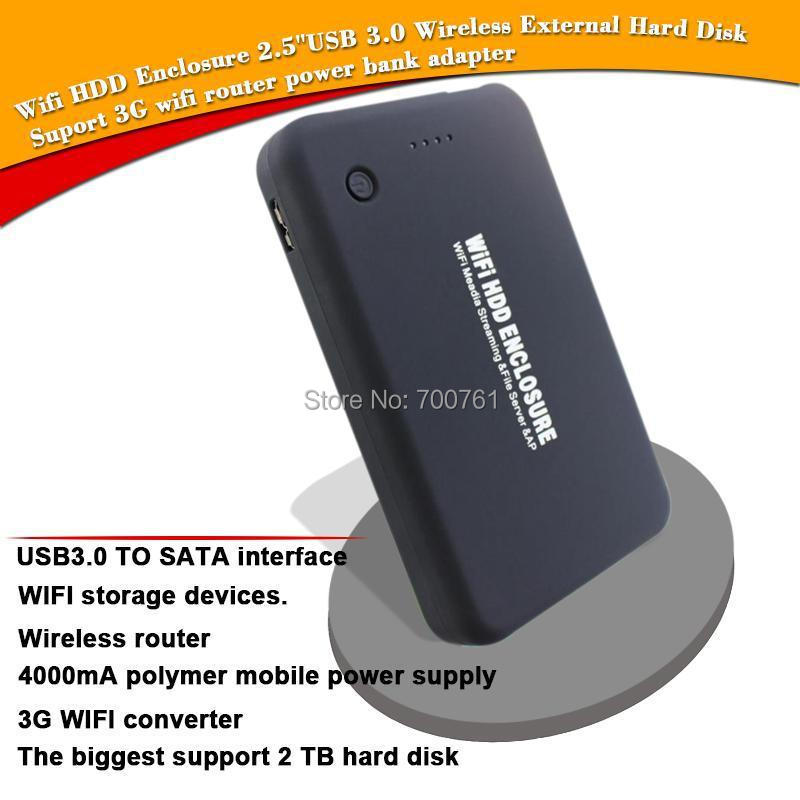 2.5 SATA Wifi HDD Enclosure ,USB3.0 Wireless HDD External Box Hard Disk Case,3G wifi router 4000MA power bank for Notebook PC