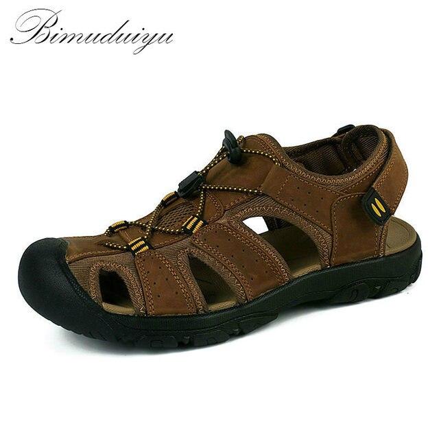 Bimuduiyu бренд защиты ног Мужские сандалии Пояса из натуральной кожи мягкая подошва повседневная обувь качество Пляжная Летняя обувь универсальные большой Размеры