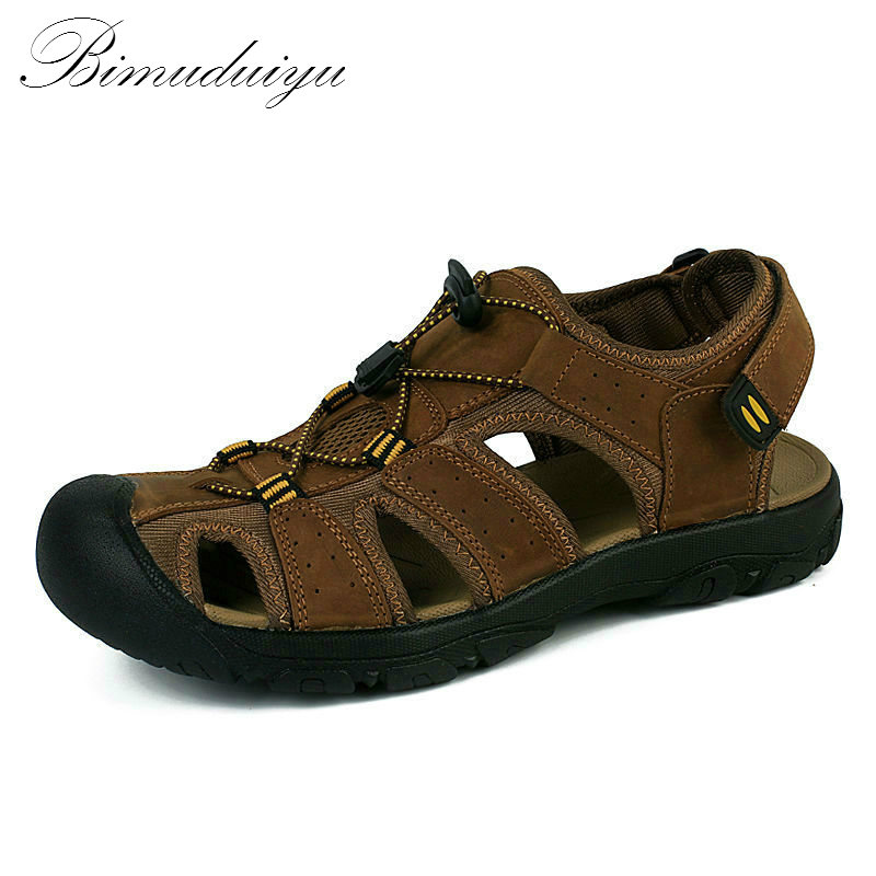 цены BIMUDUIYU Brand Toe Protect Men's Sandals Genuine Leather Soft Sole Casual Shoes Quality Summer Beach Shoes All Match Large Size
