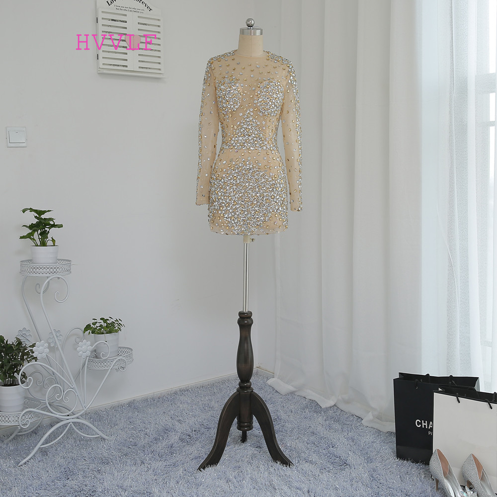 HVVLF Champagne Cocktail Dresses Elegant 2019 Sheath High Collar Long Sleeves Short Mini See Through Homecoming Dresses