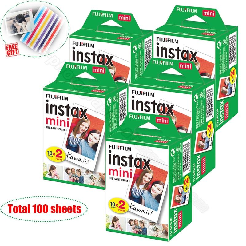 100/60 Blanc Feuilles Véritable Fuji Fujifilm Instax Mini 9 Film Pour Instax Mini 8 9 50 s 7 s 7c 90 25 partager SP-1 SP-2 Instantanée Caméras