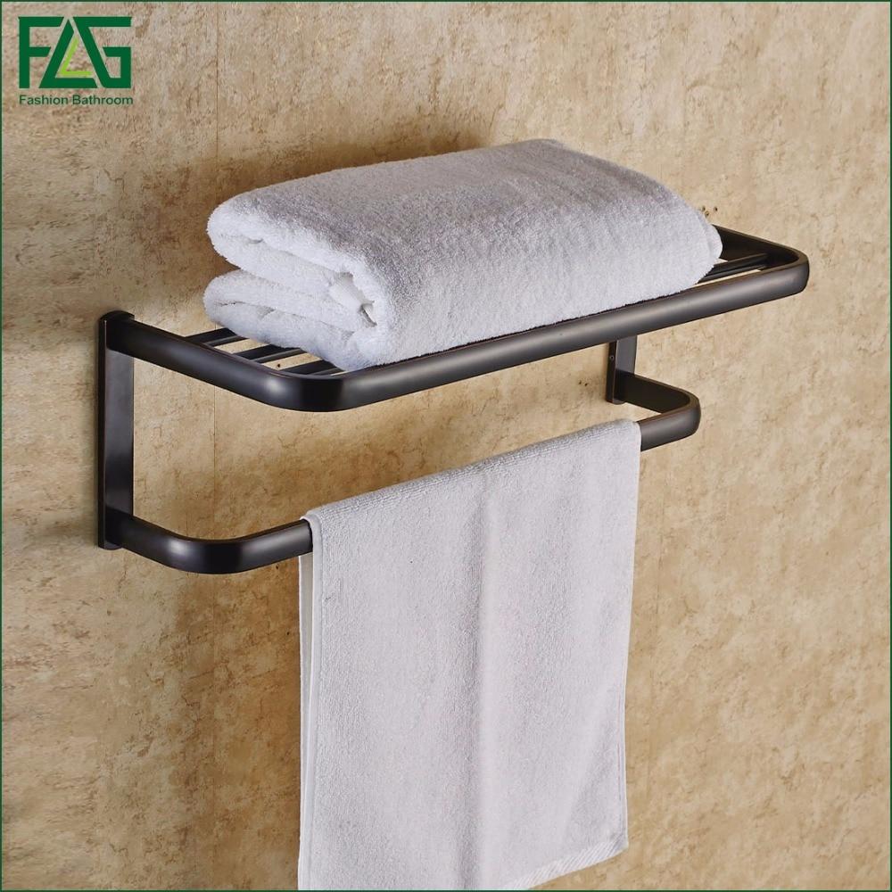 Flg wall mounted bathroom accessories towel rack black - Bathroom accessories towel racks ...