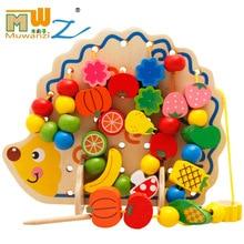 82 pcs / pack Cartoon Animals Wooden Toys Hedgehog Fruit Beads Tying Threading Spheres Game for Baby Kids Children M75